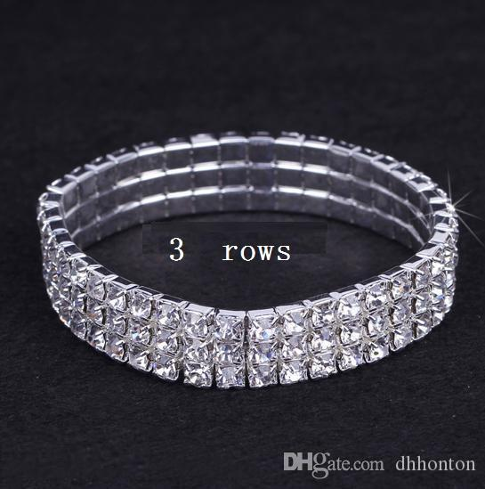 1-10 Reihen Kristallarmband Kristallrhinestone-Ausdehnungs-Armband-Armband-Hochzeits-Brautarmband für Brautjunfer, freies Verschiffen FJ10