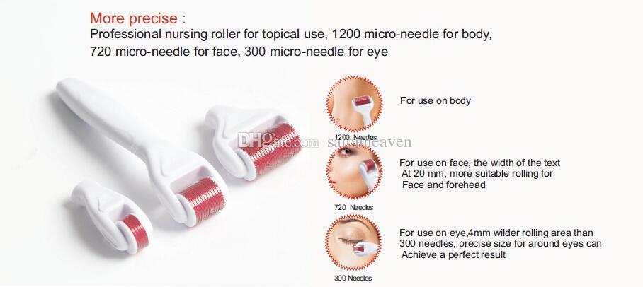 4 en 1 Derma Rouleau Micro Aiguille Rouleau 0.5mm 1.0mm 1.5mm Aiguilles Derma Micro Aiguille Skin Roller Dermatologie Thérapie Microneedle Dermaroller