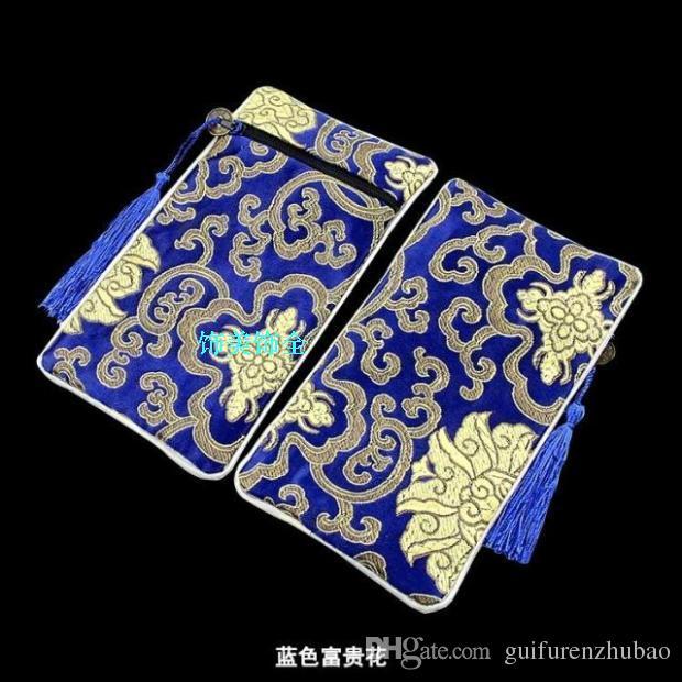 2016 nuovo rettangolo nappa borse gioielli Zip collana Viaggi legno trucco pettine Gift Bag Donna broccato di seta cinese Cosmetic Pouch Packaging