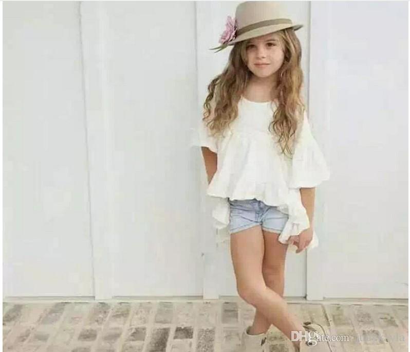 2016 nuevas muchachas lindas camisas blancas visten algodón de los niños camisa larga Blusas Moda de manga corta Tops Baby Girl Ruffle camisetas /