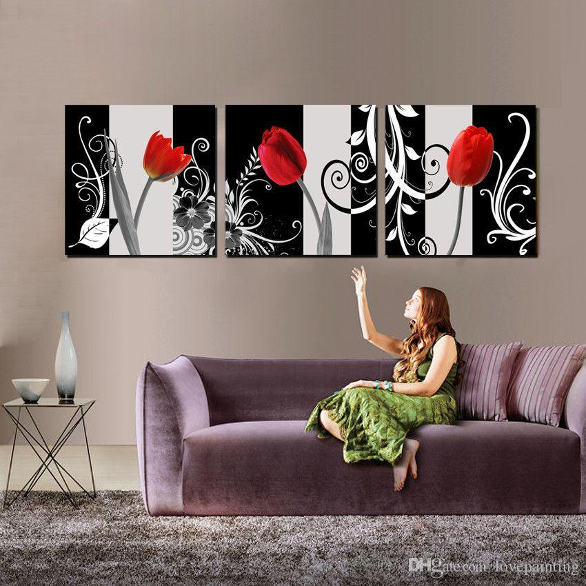 Wall decoration Unframed 3 Pieces art picture Canvas Prints Wine Glass Red rose petal tulips orchid Coffee clocks watches cup Cartoon flower