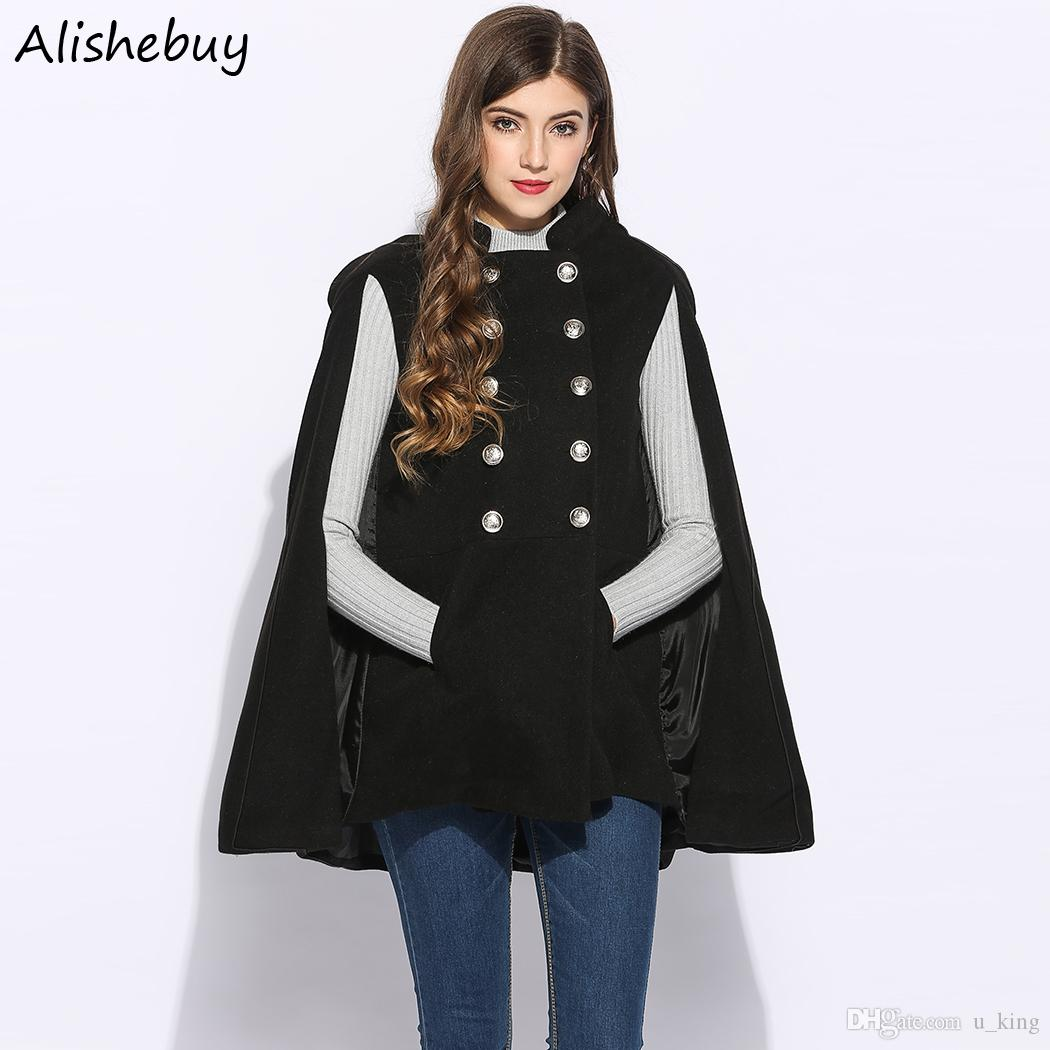 3a70b68d397 2019 Fashion Women Stand Collar Outwear Woolen Double Breasted Cape Pockets  Shawl Solid Cloak Winter Jacket Plus Size Coat Red Black SVH032101 From  U_king, ...