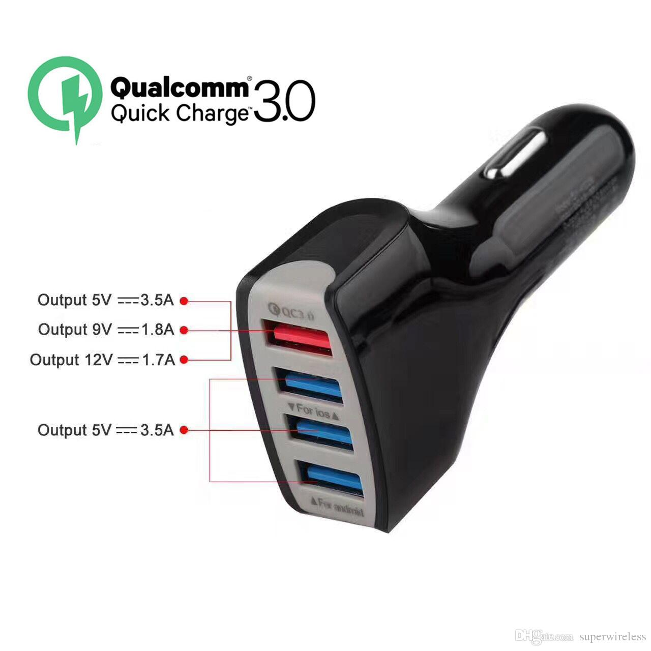 Fast Car Charger 12V 9V 5V Car Adapter Charger 4 USB port QC3.0 Phone Charger for smartphones smasung Xiaomi