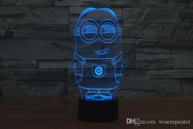 3D Minions Night Lamp Optical Light 10 LEDs Night Light DC 5V USB Powered 5th Battery Bin Factory Wholesale