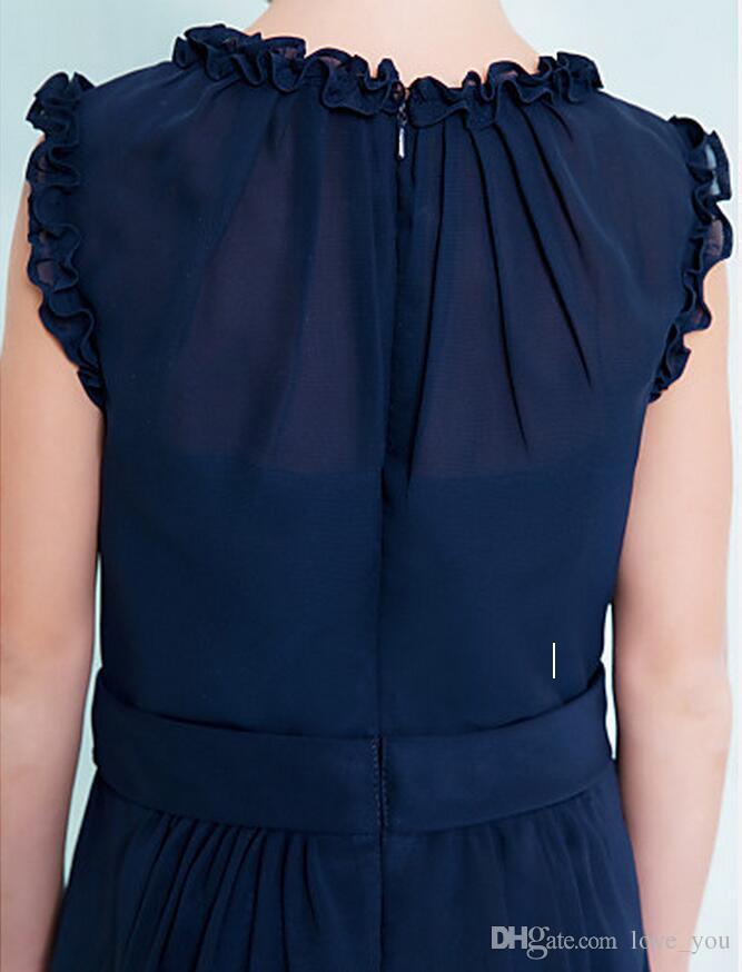 Custom Made Dark Navy Junior robes de demoiselle d'honneur colonne pas cher colonne bijou sans manches une ligne volants fermeture éclair retour robes fille