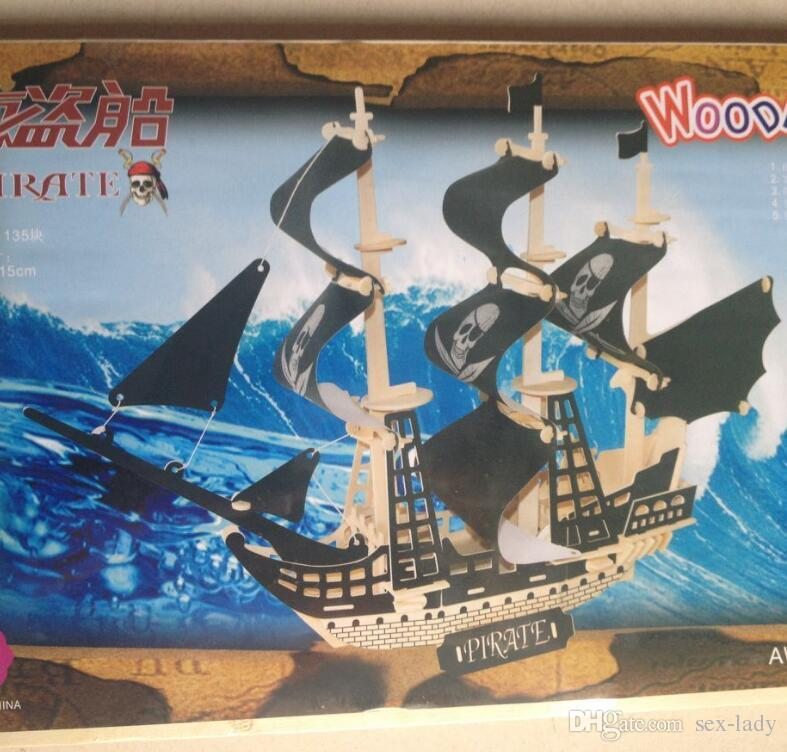 DIY Kids 3D Wooden Puzzles Pirate ships sailboats aircraft carriers Model Assembling Kits IQ Educational Toys Children Halloween Xmas Gift