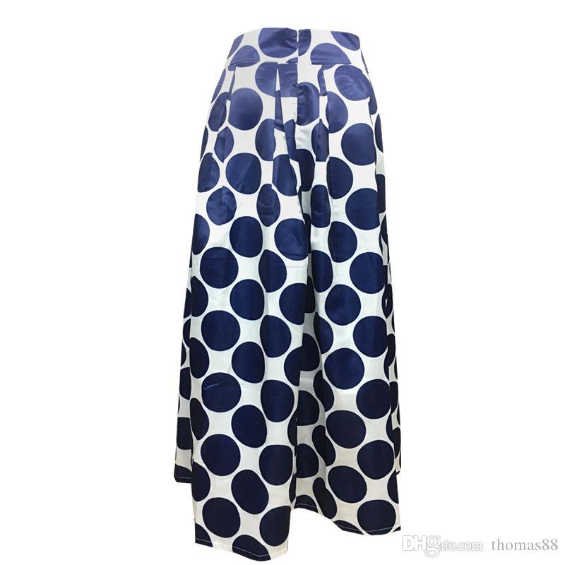 Printemps Automne Marine Bleu Taille Haute Polka Dots Imprimer Maxi Jupe Plissée Automne Contraste Casual Une Ligne Patineuse Femmes Vêtements