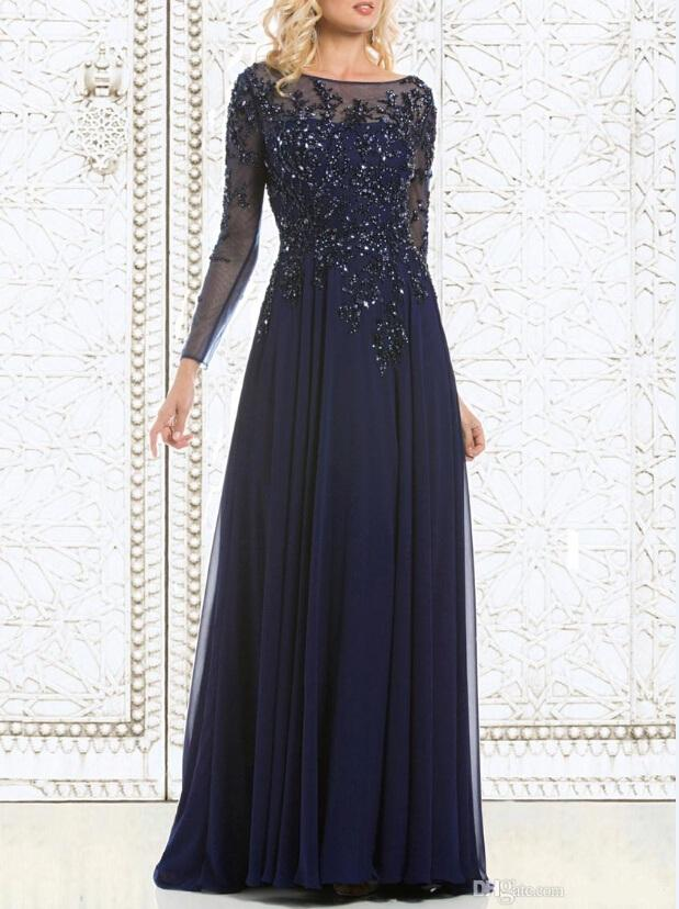 2019 Top Selling Elegant Navy Blue Mother of The Bride Dresses Chiffon See-Through Long Sleeve Sheer Neck Appliques Sequins Evening Dress