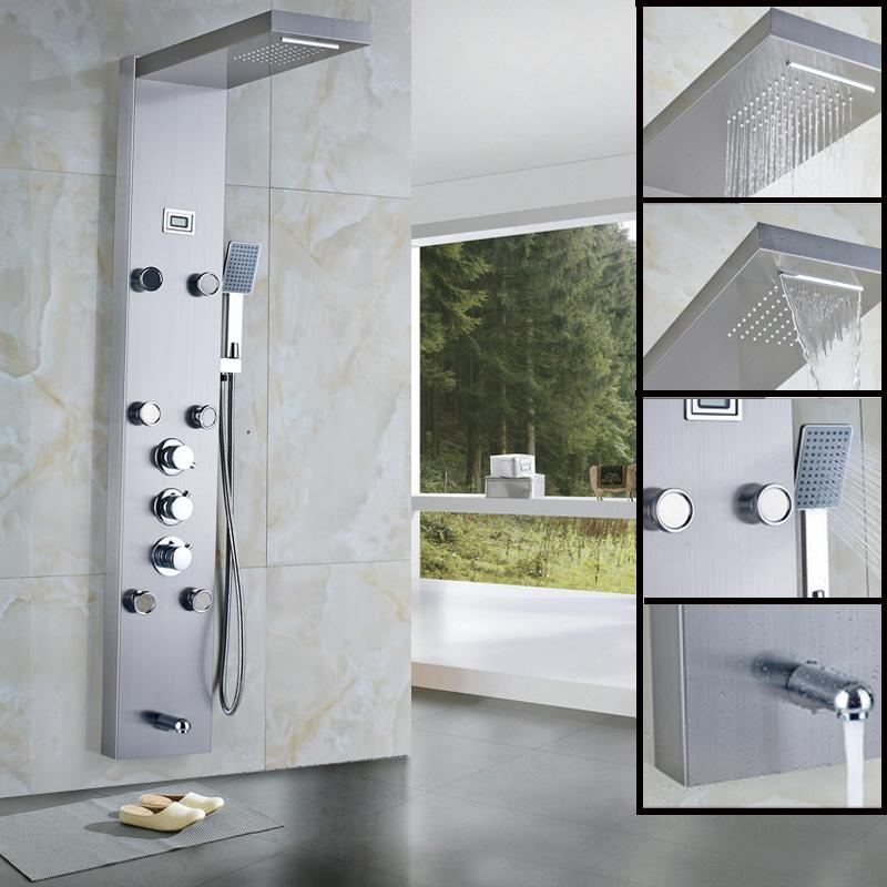 2018 Rain Waterfall Shower Panel Massage Jets Thermostatic Shower Faucet  With Hand Shower Tub Spout Tower Shower Column From Motocyle, $453.47 |  Dhgate.Com