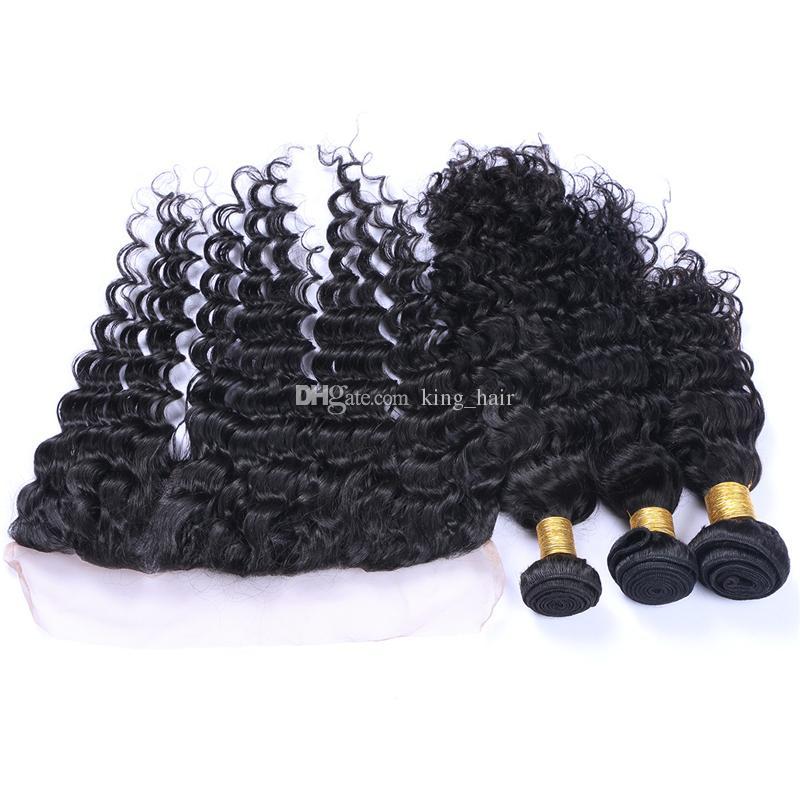 Nueva llegada pelo de onda profunda teje con cierre frontal de encaje Cabello humano de la Virgen peruana con frontal de oreja a oreja para mujer negra
