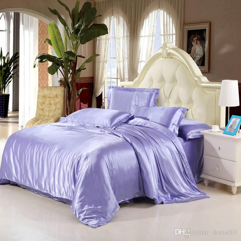 2016 Solid Color Silk Satin luxury bedding set King queen size bed sheet /duvet cover / pillowcase /set Silver violet red Home textile