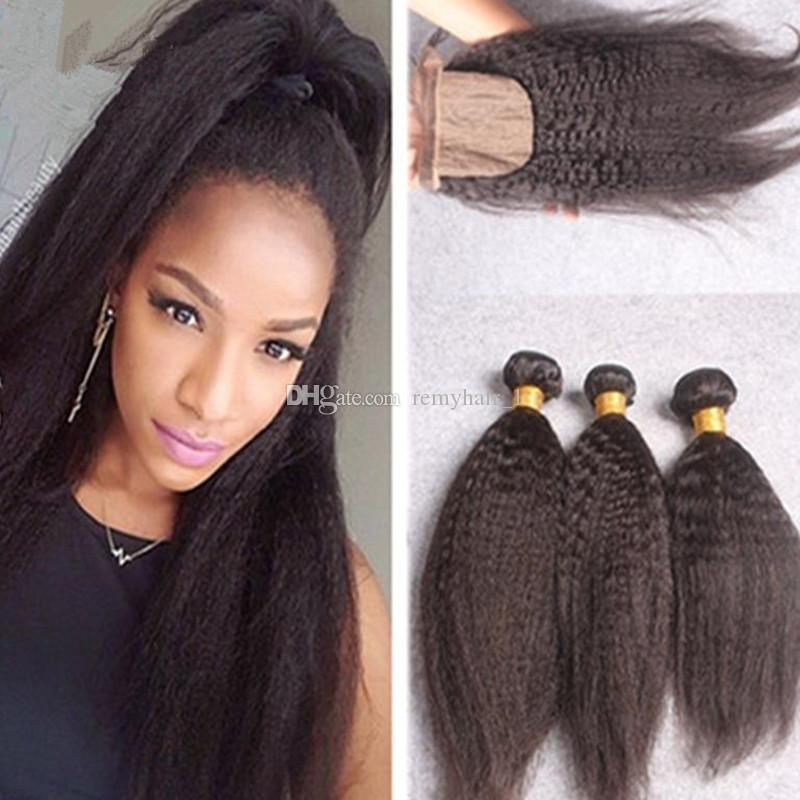 4x4 Afro Kinky Straight Silk Base Closure With Bundles 100