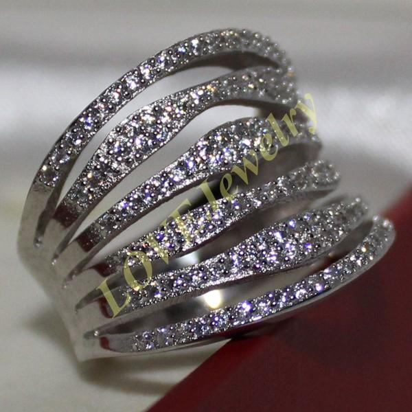 Fancy Women's 925 Solid Silver Simulated Diamond CZ Stones Pave Set Band Ring