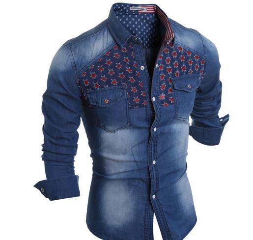 2016 Autumn Tide 브랜드 캐주얼 데님 셔츠 하이틴 학생 셔츠 성격 구멍 데님 셔츠 데님 의류 조수 모델