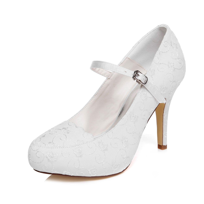 10cm High Ivory Color Platform Pump Style Mary Jane Bridal Shoes