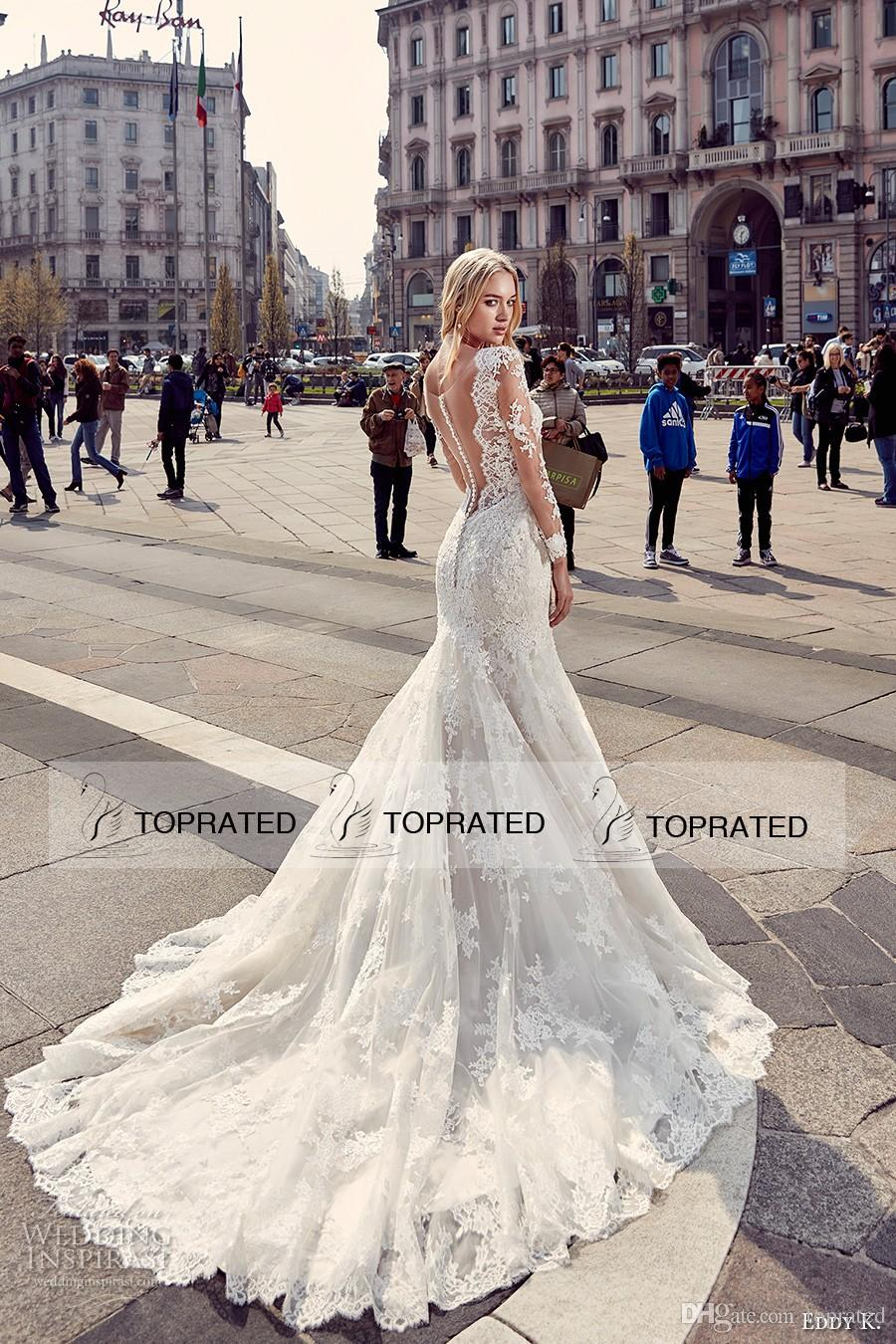 Eddy K 2017 Vintage Long Sleeved Mermaid Wedding Dresses with Deep Plunging V Neckline Fit and Flare Plus Size Bridal Gowns Brides Wear
