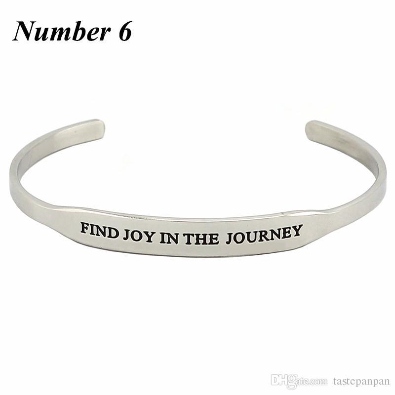 2017 Chaude En Acier Inoxydable 316L Citation Inspirante Bracelets Femmes Hommes Mantra Bijoux Cadeau Lettre Bracelet Bras Manchette Bracelet