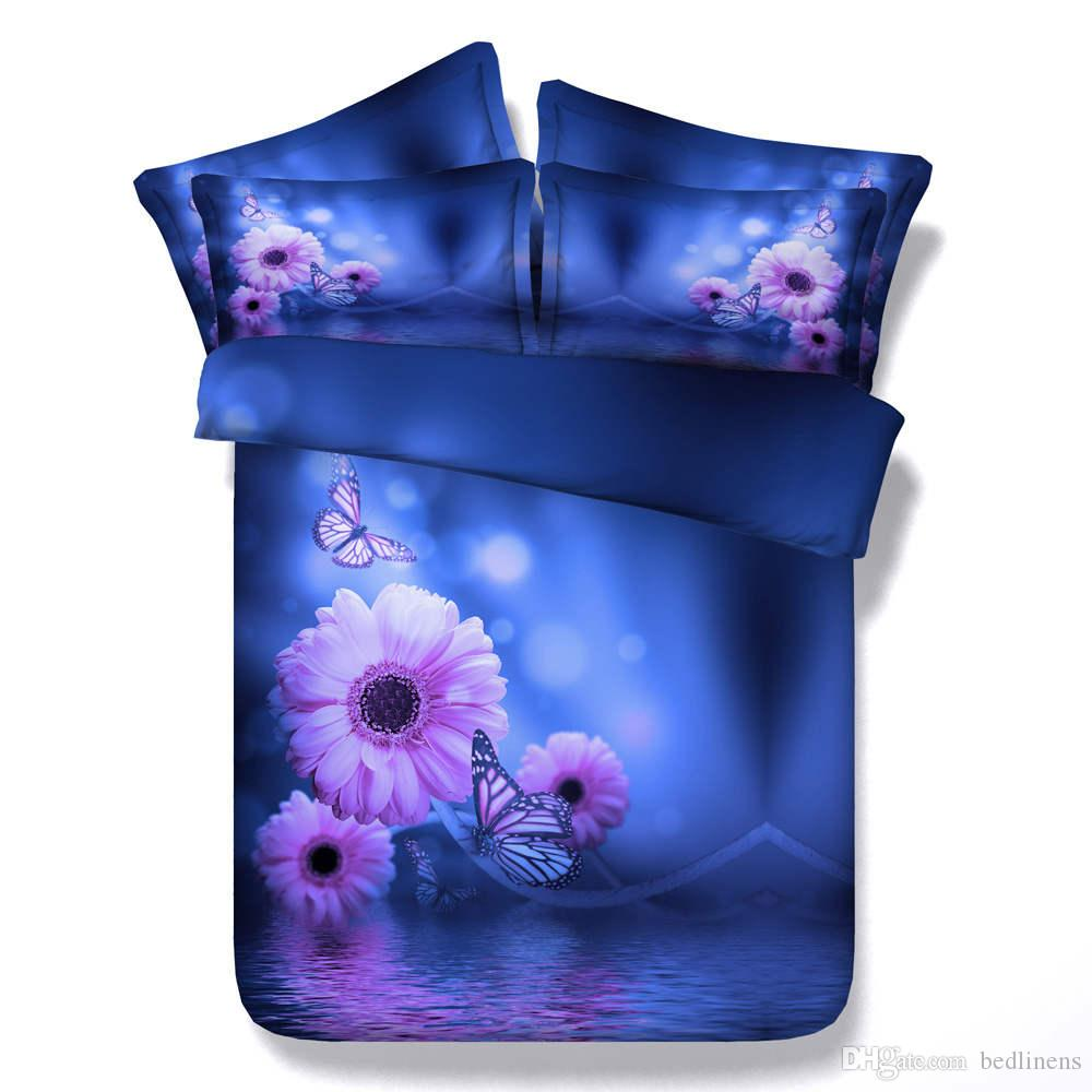 Blue Pink Daisy Butterfly Printed Bedding Sets Twin Full Queen King Size Bedspread Bedclothes Duvet Covers Bed Sheet for Girls Bedroom Decor