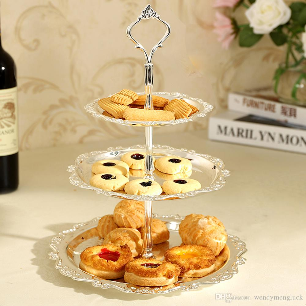 3 Tier Stainless Steel Serving Tray Cake Plate Stand Cupcake Fruit ...