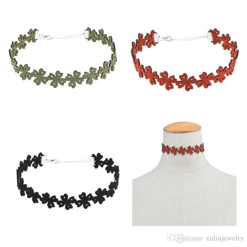 Najlepsza jakość Prezent Lace Up Multicolor Varity kwiaty Kształt Choker Collar Pretty Velvet Choker Naszyjnik bez koralików CN002