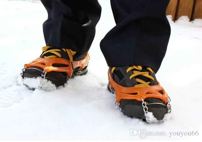 8 Teeth Stainless Steel Ice Gripper Chain Claws Crampons Non-slip Shoes Cover for Outdoor Ski Snow Hiking Climbing antiskid antislip