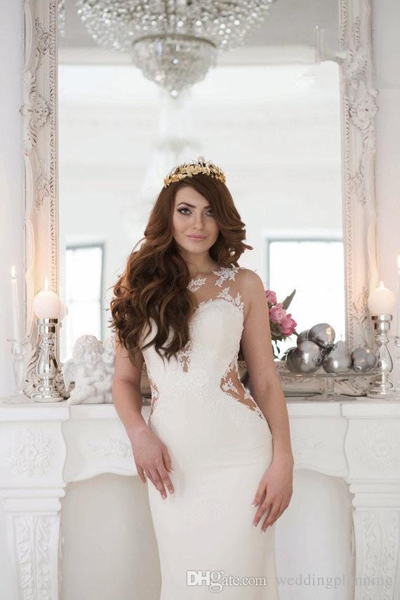 화이트 럭셔리 인어 비치 웨딩 드레스 바닥 길이 맞춤형 긴 시스 민소매 레이스 신부 가운 공식 이벤트 웨딩 드레스