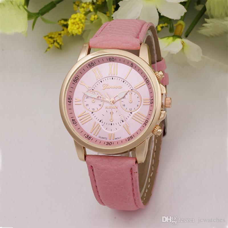 Cuero Unisex Ginebra Relojes Venta al por mayor 50 Unids / lote Envío Libre DHL Venta Caliente Relojes Baratos Números Romanos Relojes de pulsera de Cuarzo para Hombres Mujeres