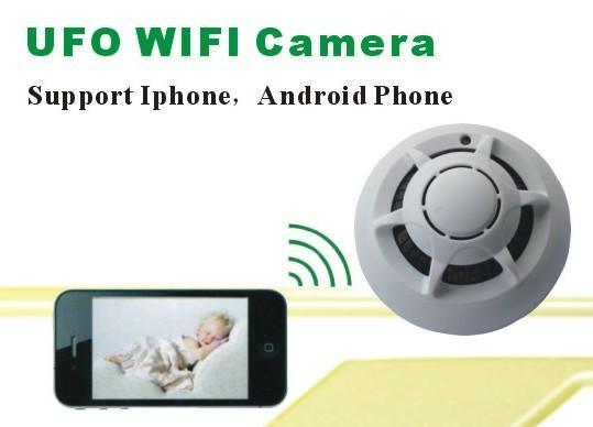 Hot Sale Wireless UFO WIFI Camera STK3350 Wifi Smoke Detector Camera with P2P Function IP Camera for iphone smart phone PC MID