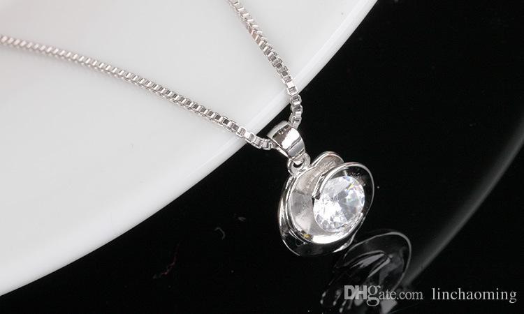 HYWo senza catena Collana in argento sterling 925 CZ con ciondolo in cristallo vintage rose style Gioielli ipoallergenici regalo le donne