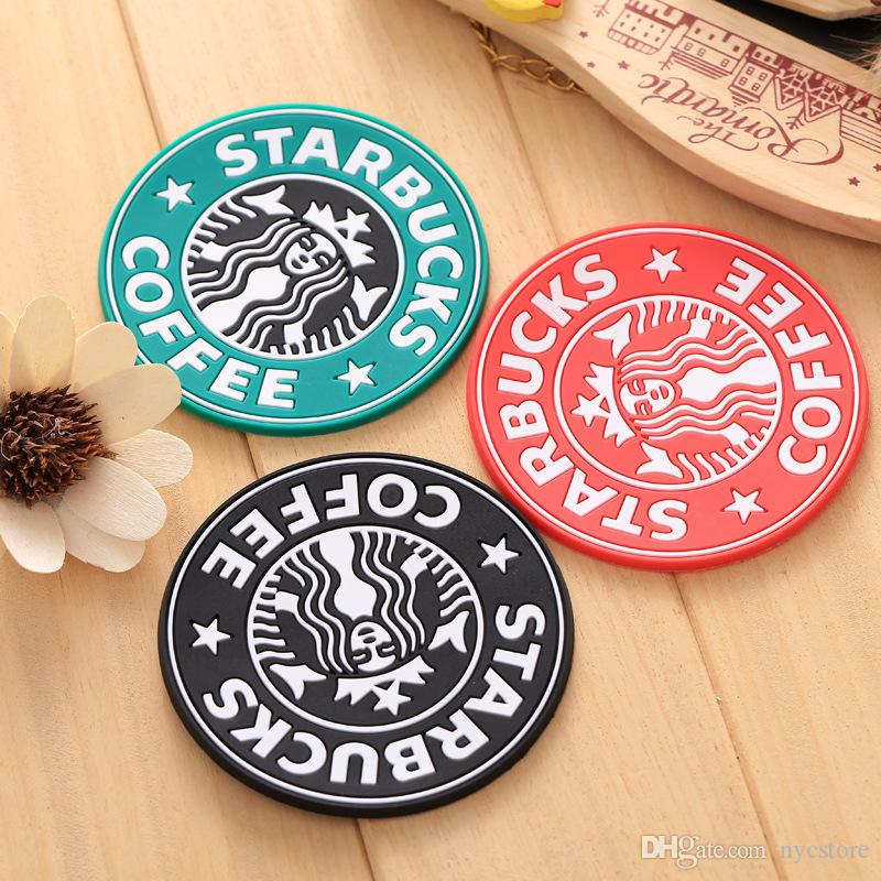 Free DHL Table decoration Starbucks logo Mermaid silicone coaster round platemat mugs coffee cup mat pad black red green