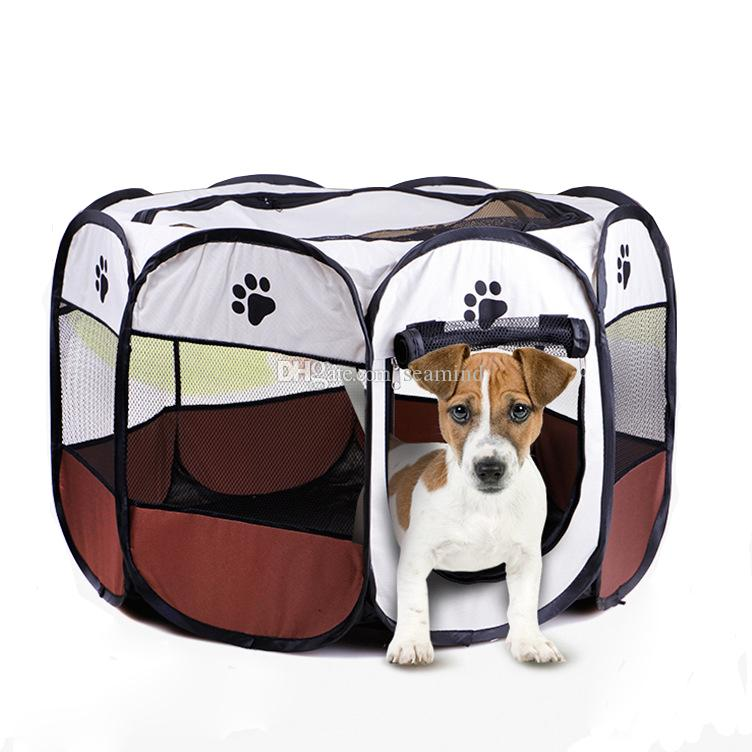 HOT Portable Folding Pet tent Dog House Detachable Cage Dog Cat Tent Playpen Puppy Kennel Easy Operation Octagonal Fence outdoor supplies