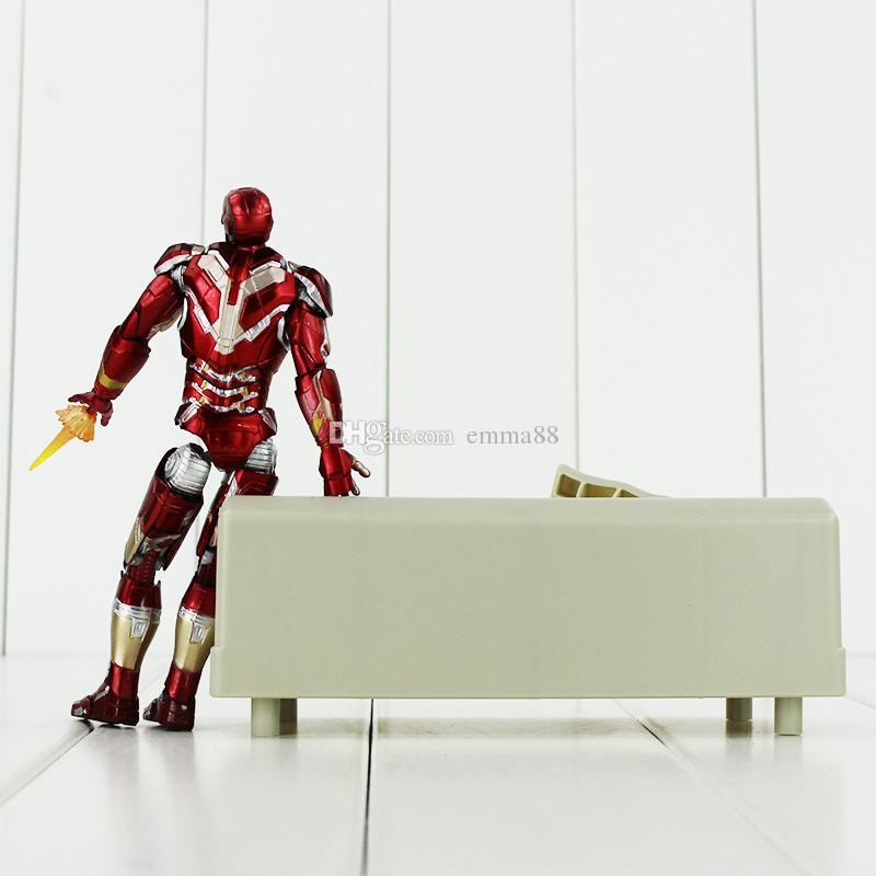 15.5cm Super Hero Iron Man with Sofa PVC Action Figure Collectable Model Toy for kids gift