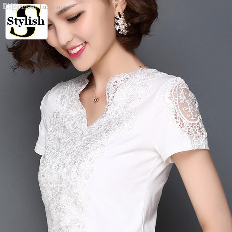 73da94e1f Al por mayor-Estilo de verano Blusa Blusa de algodón de encaje blanco  Elegante mujer Tops Moda 2016 S-3XL Tallas de algodón Sexy Camisa de mujer