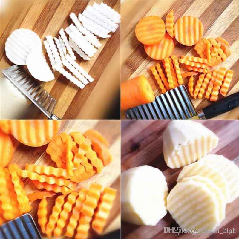 Batata Ondulado Faca Afiada Utensílio De Cozinha De Aço Inoxidável Vegetal Fruta De Corte Descascador Cozinhar Ferramentas facas de cozinha Acessórios