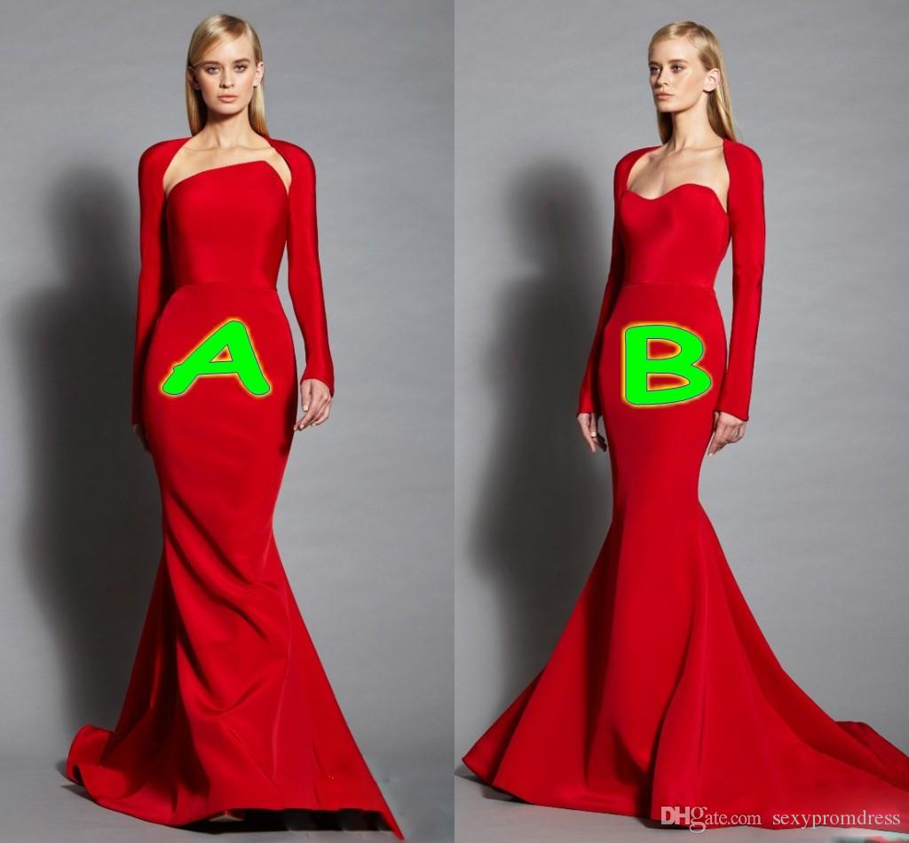 Elegant Red Strapless Evening Dresses With Long Sleeve Jacket 2017 ...