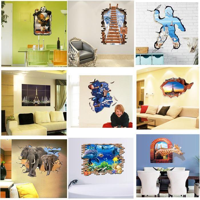 D Through Wall Window Wall Stickers Cartoon Decorative Wall - Spiderman wall decals uk