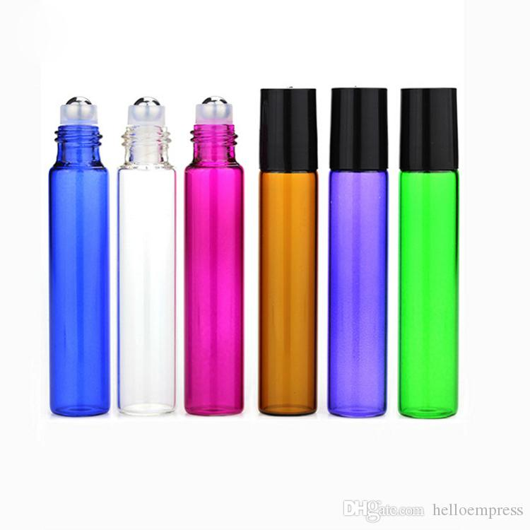 Hot SS Metall Roller Kosmetik Nachfüllbar 10 ml 1 / 3oz Bunte Glasrolle auf Flasche ätherische Ölduftstoffe Roller Ball Flasche Pactory Firmung