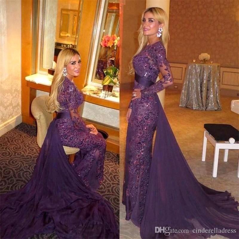 2018 Purple Full Lace Beads Long Sleeves Evening Dresses Arabic Muslim  Evening Gowns With Detachable Train Sheer Long Prom Dresses BA2833 Sexy  Dresses Black ... af4d73965509