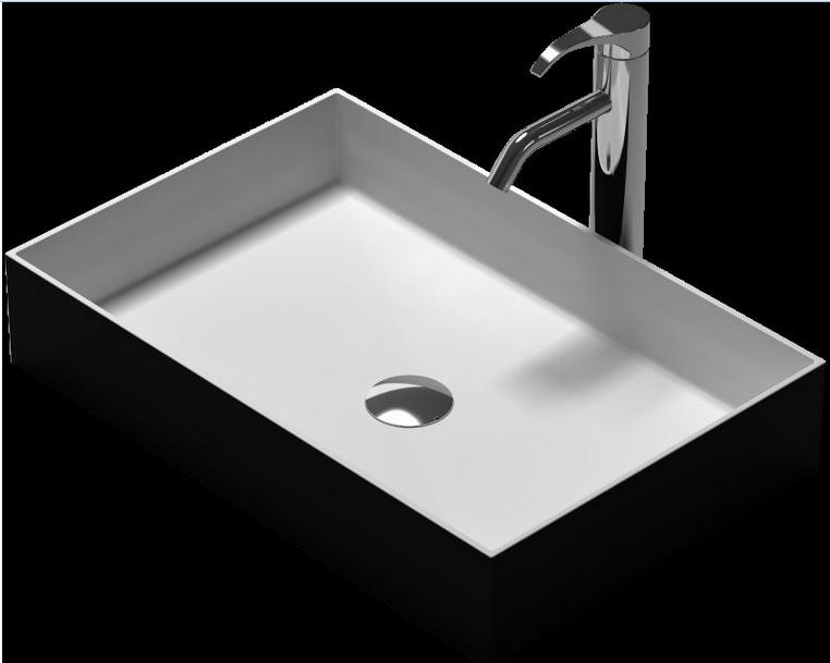 Rectangular Bathroom Solid Surface Stone Under Top Vessel Sink And Fashionable Matt Or Glossy Wash Basin RS38337