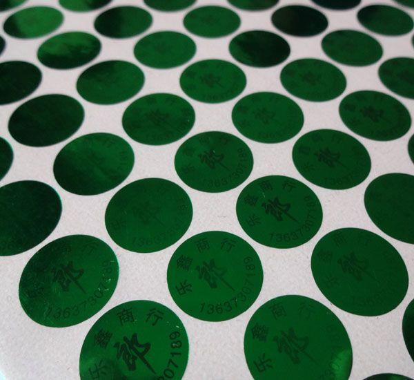 20000 piezas / set! etiqueta autoadhesiva personalizada con etiqueta de láser holograma verde, ¡sin efecto si se retira! Diseño GRATIS