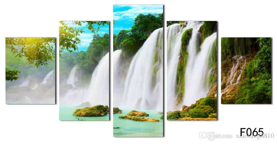 Nature scenery waterfall trees canvas painting rectangle HD large image painting deco for restaurant Giveaway wall sticker No Frame
