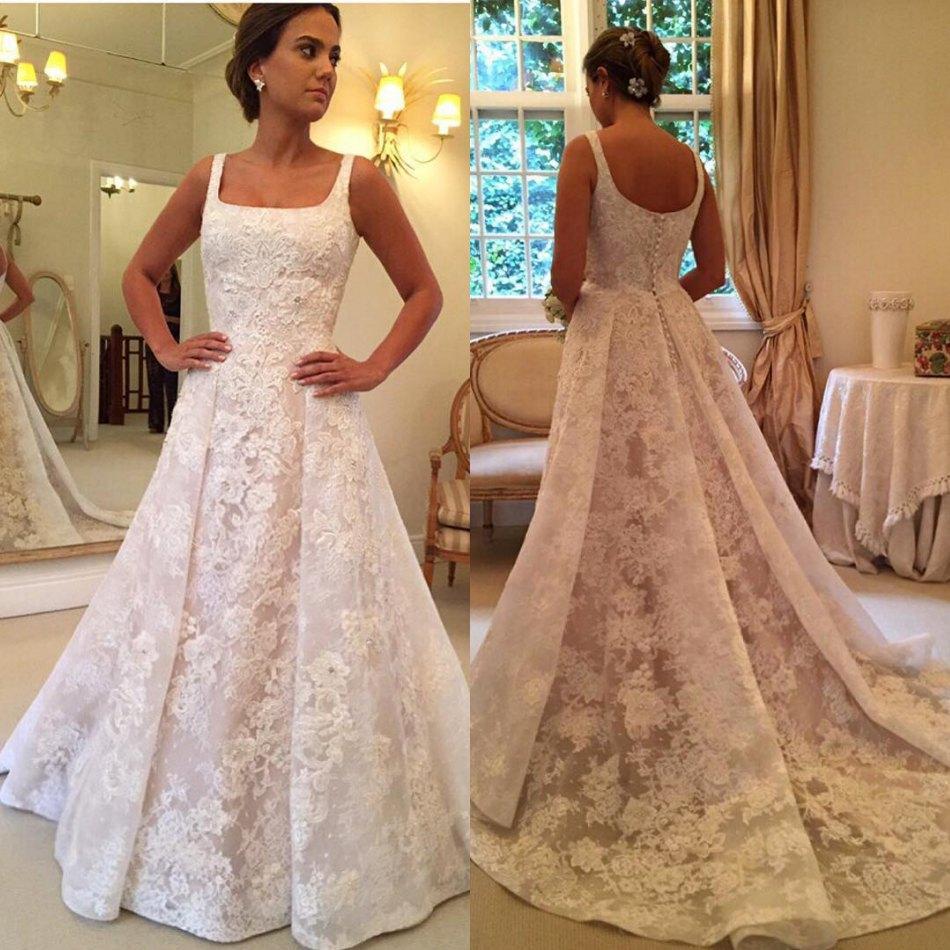 Discount 2018 OverSkirts Full Lace Wedding Dresses Sleeveless Beaded ...