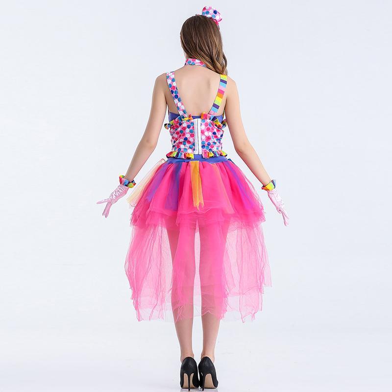 Sexy Femme Cirque Fille Clown Cosplay Costumes Halloween Fantaisie Bonbons Couleurs Tutu Bretelles Cosplay Carnaval Cirque Clown Tenues W880293