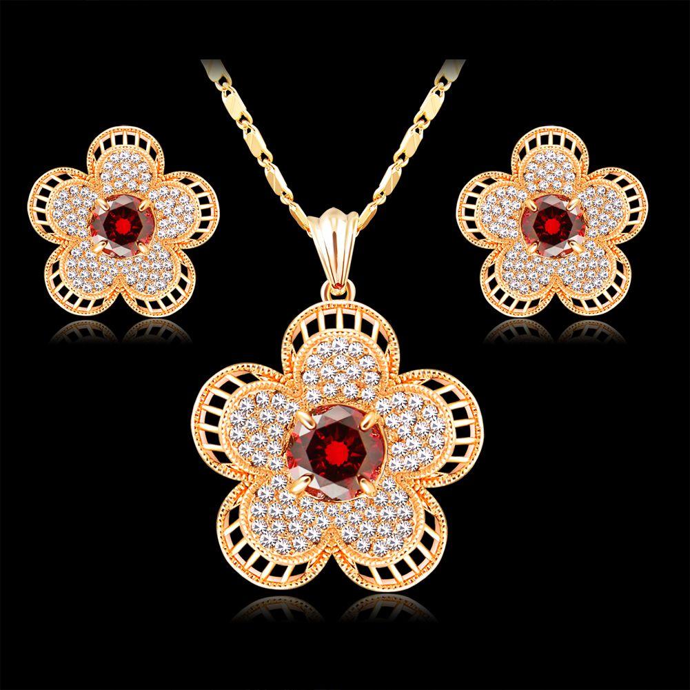 jewelry sets 18k champagne gold plating wedding popular ruby Cubic zirconia fashion necklace earing dubai women crystal jewelrys