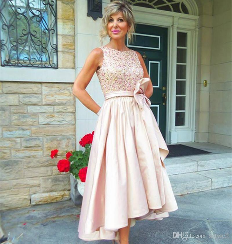 8a572757d6e Pink High Low Mother Of The Bride Groom Dresses Sequined Tea Length A Line  Wedding Guest Dress Custom Made Prom Dress Kleinfelds Mother Of The Bride  Dresses ...