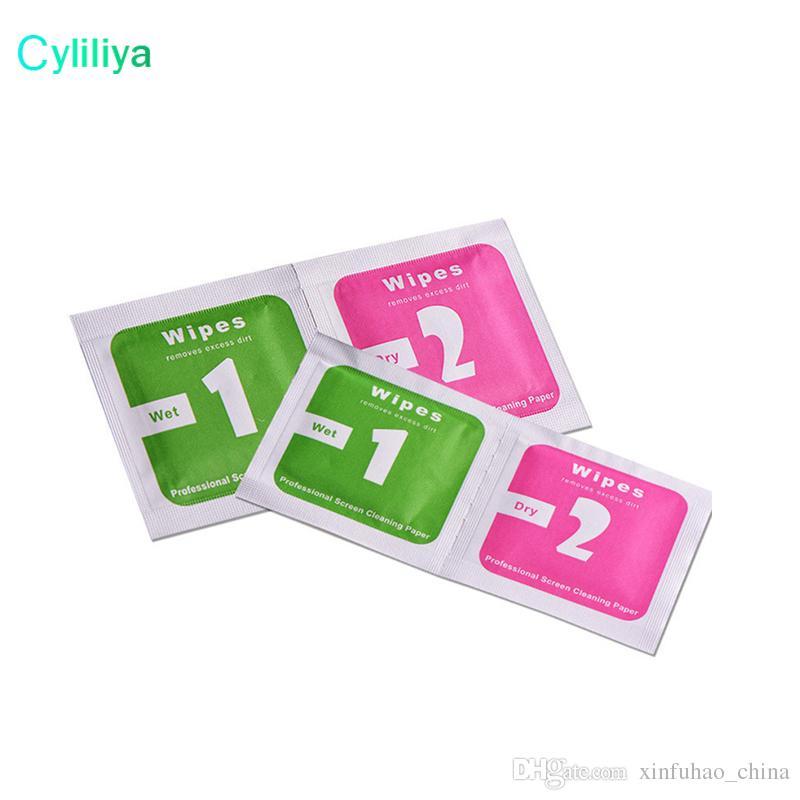 Post gratis Toallitas Secas + Toallitas Húmedas + Absorbente de Polvo Pegatina Paño de Limpieza Para Protectores de Pantalla de Vidrio Templado Tablet Cámara LCD