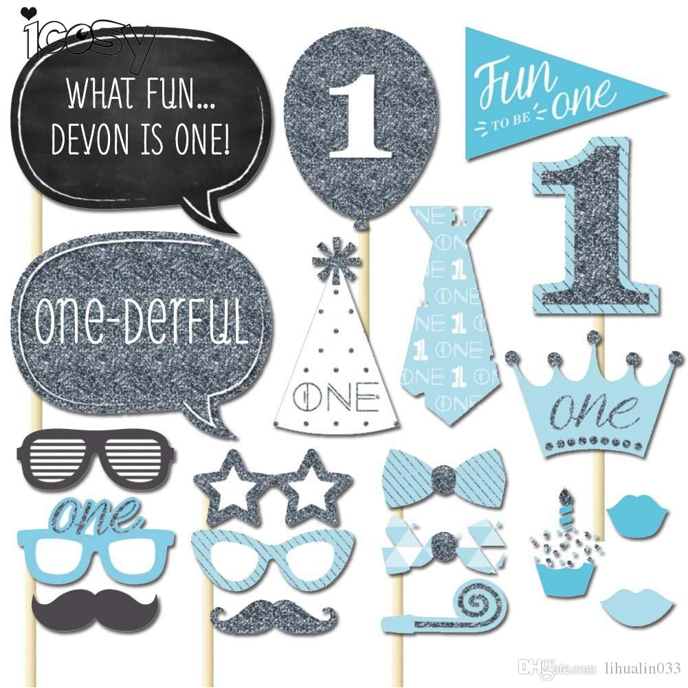 Boys Girls 1 First Birthday Photo Booth Props Party Decorations Funny Photobooth Photography Kits 1 Year Birthday Party Supplies