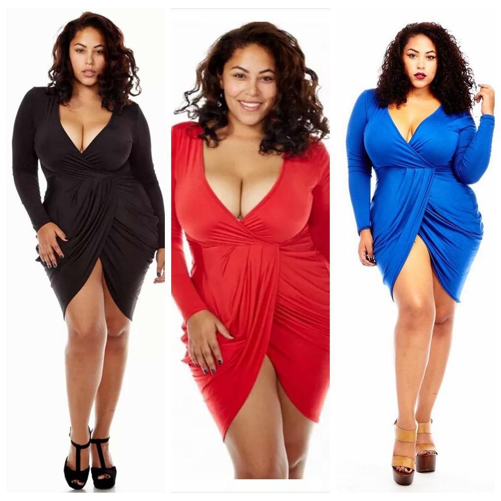 Womens Plus Size Deep V Neck Bodycon Wrap Dress With Front Slit ...