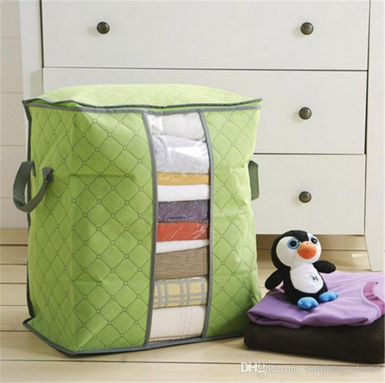 Big Non Woven Quilt Storage Bag Portable Foldable Clothing Blanket Pillow Underbed Bedding Organizer Box Bamboo Charcoal Storage Bags BHY