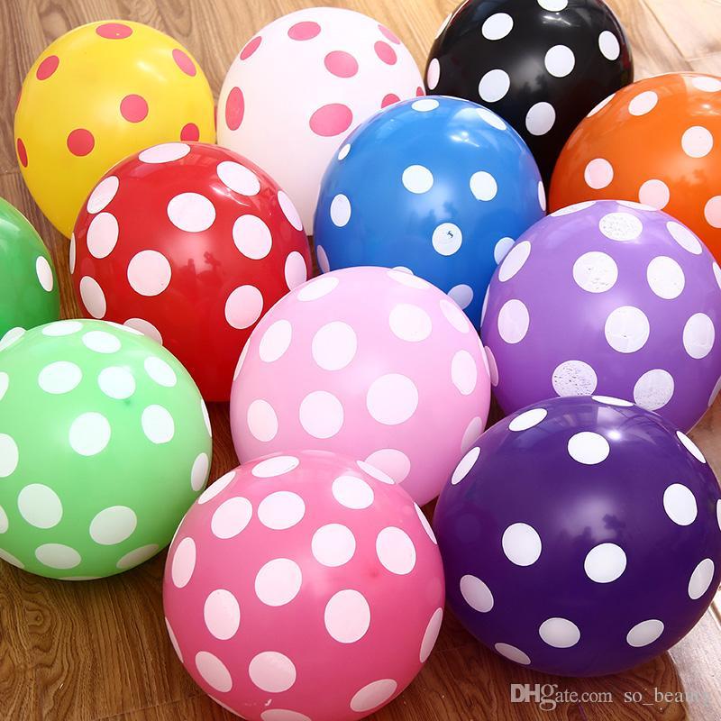 100 개 라텍스 폴카 도트 풍선 라운드 풍선 파티 웨딩 생일 기념일 장식 12 인치 새로운